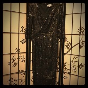 Long black sultry sequined JESSICA SIMPSON dress